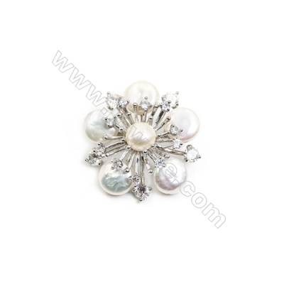 White Flower Mother-of-pearl Shell CZ Brooch x 1Piece  Sterling Silver Plated  Size 38x38mm