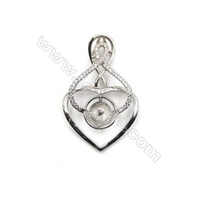 Zircon pendant 925 sterling silver platinum plated, 24x38mm, x 5pcs, tray 11mm, needle 0.6mm
