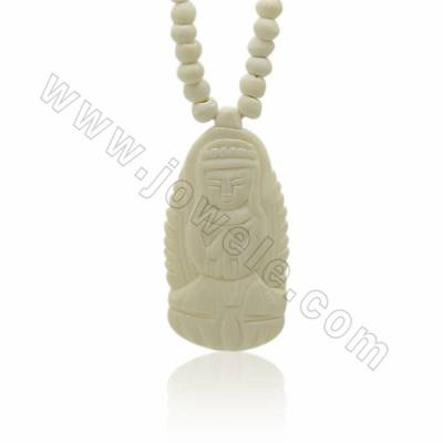 Handmade Carved Ox Bone Necklace, Guanyin, Size 22x43x5mm, Hole 1mm, 1pc