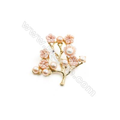 Pink Tree Mother-of-pearl Shell Brooch x 1Piece Gold Plated  Size 41x42mm