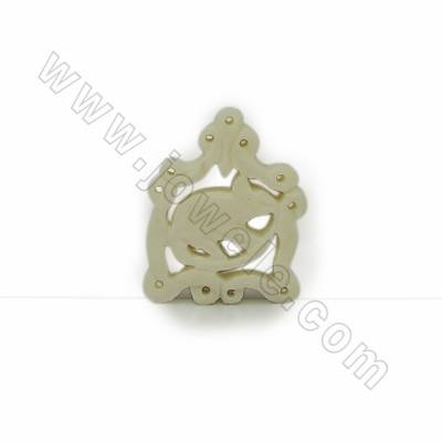 Handmade Carved Ox Bone Pendants, Mouse, Size 25x31.5x4mm, Hole 1mm, 10pcs/pack