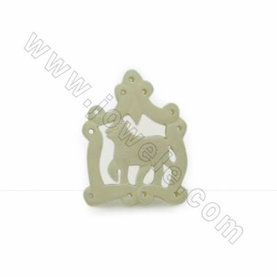 Handmade Carved Ox Bone Pendants, Horse, Size 25.5x33x4mm, Hole 1mm, 10pcs/pack