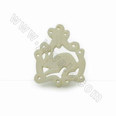 Handmade Carved Ox Bone Pendants, Rabbit, White, Size 26.5x33x4mm, Hole 1mm, 10pcs/pack