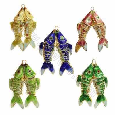 Vintage Cloisonne Enamel Carp Pendants, Double fish, Size 36x55mm, Hole 3x4mm, 8pcs/pack