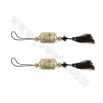 Handmade Ox Bone Column Carved Dragonfly Pattern Pendants with Chinese Knot Tassel Decorations, Length 600mm, 1pc