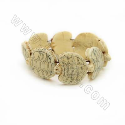 Handmade Carved Tortoise Ox Bone Bracelets, Yellow, Bead Size 25x25mm, Length about 200mm, 8 beads/strand