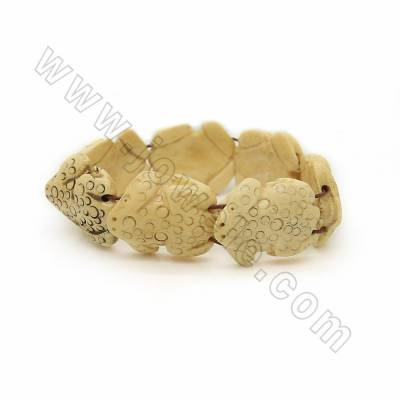 Handmade Carved Frog Ox Bone Bracelets, Yellow, Bead Size 25x30mm, Length about 210mm, 7beads/strand