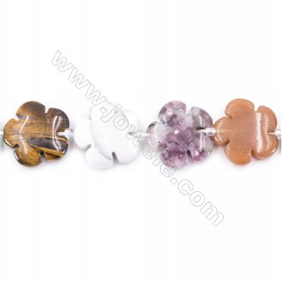 Mix Gemstone Beads Strand  Flower  Size 20x20mm   hole 1mm   about 20 beads/strand 15~16''