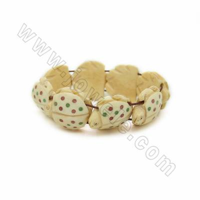 Handmade Carved Spotted Turtle Ox Bone Bracelets, Yellow, Bead Size 25x25mm, Length about 200mm, 8beads/strand