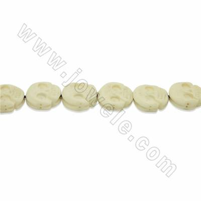Handmade Carved Ox Bone Beads Strands, Skull, Size 16x17mm, Hole 1mm, 25 beads/strand