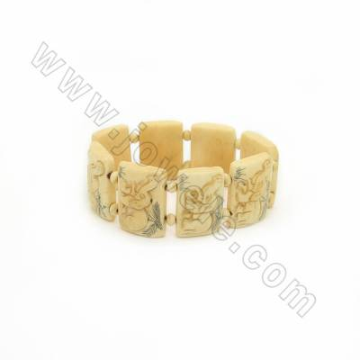 Handmade Carved Elephant Pattern Ox Bone Bracelets, Yellow, Bead Size 20x27mm, Length about 184mm, 8 beads/strand