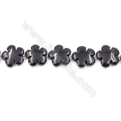 Black Stone Beads Strand  Flower  Size 20x20mm  hole 1mm  about 20 beads/strand 15~16''