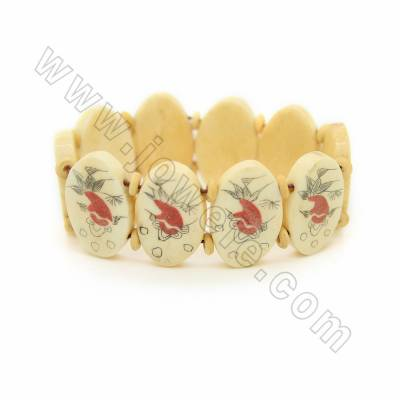 Handmade Carved Fish Pattern Ox Bone Bracelets, Yellow, Bead Size 18x28mm, Length about 180mm, 10 beads/strand