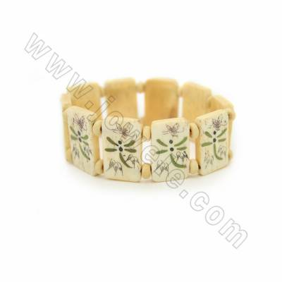 Handmade Carved Dragonfly Pattern Ox Bone Bracelets, Yellow, Bead Size 15x25mm, Length about 180mm, 10 beads/strand