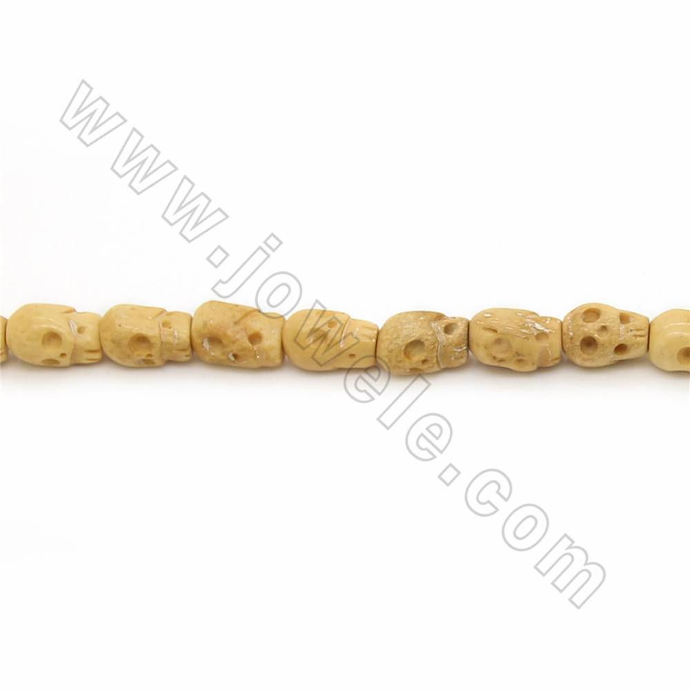 Handmade Carved Ox Bone Beads Strand, Skull, Yellow, Size 8x12mm, Hole 1~2mm, 26 beads/strand