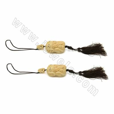 Handmade Ox Bone Column Carved Monkey Pendant with Chinese Knot Tassel Decorations, Length 600mm, 1pc