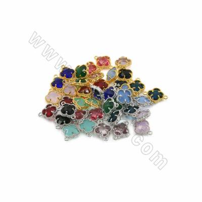 Colorful Glass Connectors with Brass findings, Four-leaf Clover, Size 12x17mm, Hole 1.5mm, 25 pcs/pack