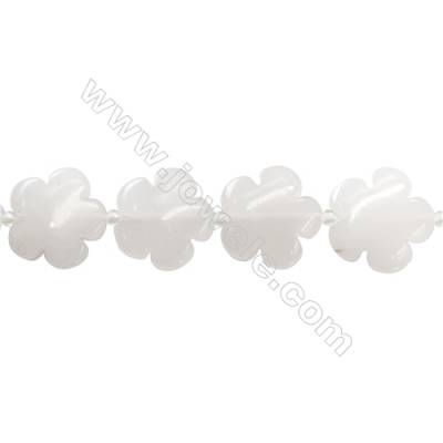 White Jade Beads Strand  Flower  Sizer 20x20mm   hole 1mm   about 20 beads/strand 15~16""