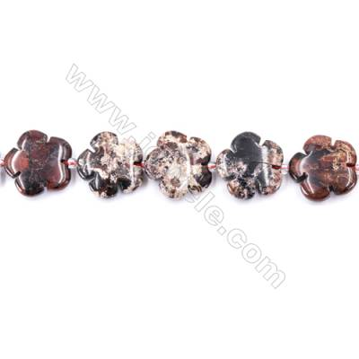 Natural Brecciated Jasper Beads Strand, Flower, Size 20x20mm, Hole 1mm, about 20 beads/strand 15~16""