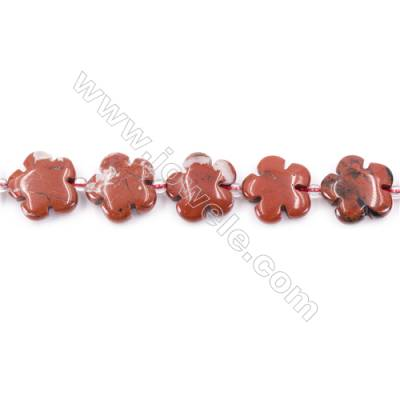 Natural Red Jasper Beads Strand  Flower  Size 15x15mm   hole 1.5mm   about 27 beads/strand 15~16''