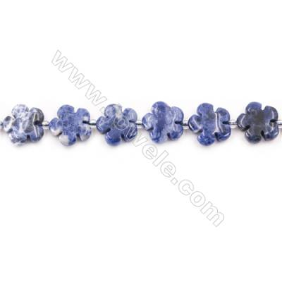 Natural Sodalite Beads Strand  Flower  Size 15x15mm  Hole 1.5mm  about 27 beads/strand  15~16""