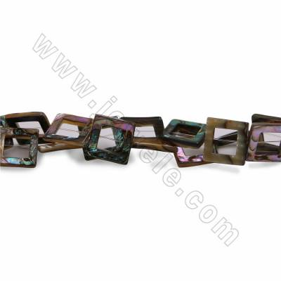 Natural Abalone Mother-of-pearl Shell Beads Strands, Hollow Rectangle, Size 17.5mm, Hole 0.8mm, 15~16''/strand