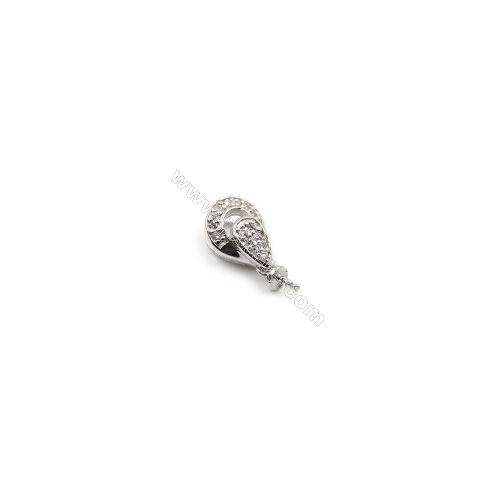 Zircon pendant 925 sterling silver platinum plated, 8x11mm, x 10pcs, tray 3mm, needle 0.8mm