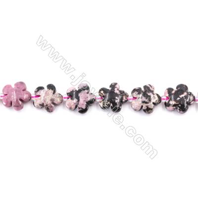Black Stripes Rhodochrosite Stone Beads Strand  Flower  Size 15x15mm   hole 1.5mm   about 27 beads/strand 15~16''
