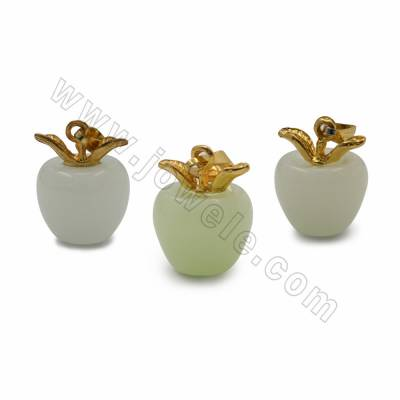 Synthetic Luminous Stone Pendants with Brass findings, Apples, Size 14x19mm, 20pcs/pack