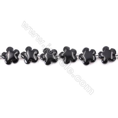 Black Stone Beads Strand  Flower  Size 15x15mm  hole 1.5mm  about 27 beads/strand 15~16''