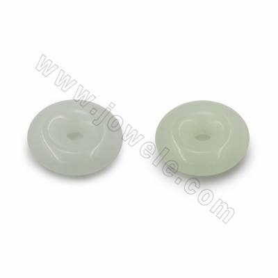 Synthetic Luminous Stone Pendants, Donut, Luminous green/Luminous blue, Diameter 30mm, Hole 0.5mm, 20pcs/pack