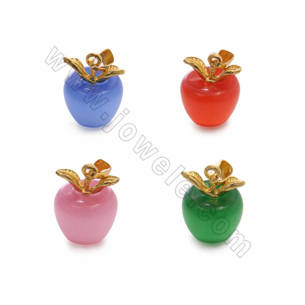 Synthetic Opal/Cat's eye Stone Pendants with Brass Findings, Apple, Size 14x18mm, 30pcs/pack