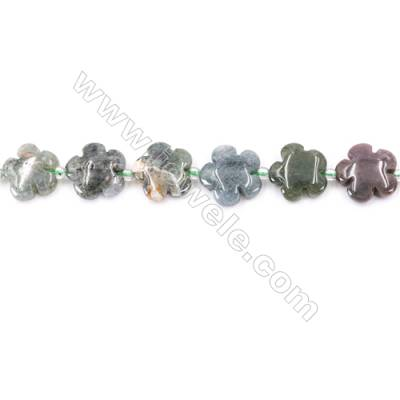 Natural Moss Agate Beads Strand Flower  Size 15x15mm  hole 1.5mm   about 26 beads/strand 15~16""