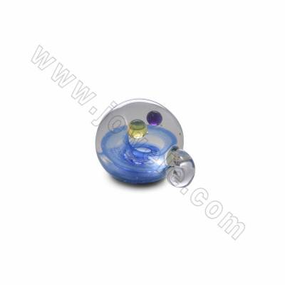 Handmade Lampwork Pendants, Starry sky, Double balls, Size 23x29mm, Hole 3.5mm, 1pc