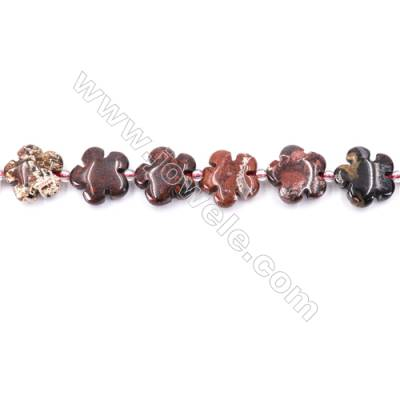 Natural Brecciated Jasper Beads Strand  Flower  Size 15x15mm   hole 1.5mm   about 27 beads/strand 15~16""