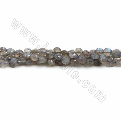 Natural Labradorite Beads Strands, Flat Round(faceted), Size 6mm, Hole 1mm, 15~16''/strand