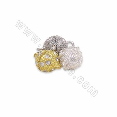 Alloy Paved Cubic Zirconia Magnetic Clasps, Alloy Connectors, Golden/White Gold/Silver, Size 10mm, Hole 2mm, 60pcs/pack