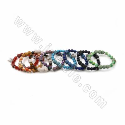 Colorfull Natural Lava Stretch Bracelets, with Gemstone and Alloy Charms, Round & Cube, 62-63mm, 20 pcs/pack