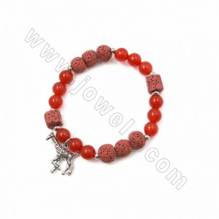 Colorfull Natural Lava Stretch Bracelets, with Gemstone and Alloy Charms, Round & Cube, 62~63mm, 20 pcs/pack