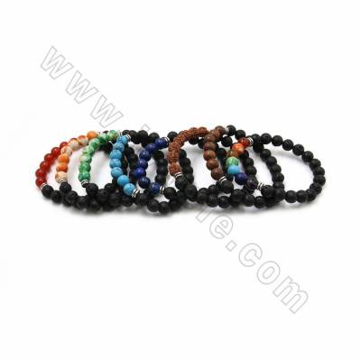 Natural Black Lava Beaded Stretch Bracelets, with Gemstone and Alloy Spacer Beads, 63mm, 20 pcs/pack