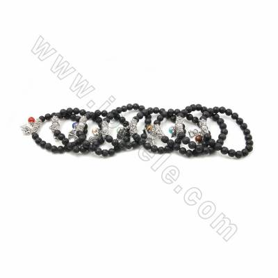 Natural Black Lava Beaded Stretch Bracelets, with Gemstone and Alloy Charms, inner diameter 58mm, 20 pcs/pack