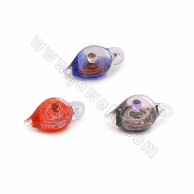 Colorful Handmade Lampwork Pendants, Starry sky,Kettle, Size 19x36mm, Hole 3.5mm, 1pc