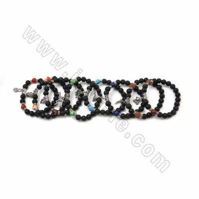 Natural Black Lava Beaded Stretch Bracelets, Gemstone and Alloy Charm Bracelets, with Alloy Spacer Beads, 58mm, 20 pcs/pack