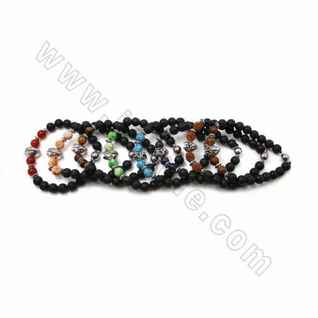 Natural Black Lava Mixed Gemstone Beaded Stretch Bracelets, with Alloy Charms & Magnetic Clasps, 62mm, 20 pcs/pack
