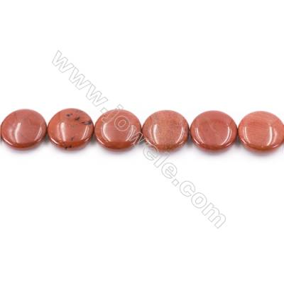 Natural Red Jasper Beads Strand  Flat Round  Diameter 20mm  hole 1mm  about 20 beads/strand 15~16''