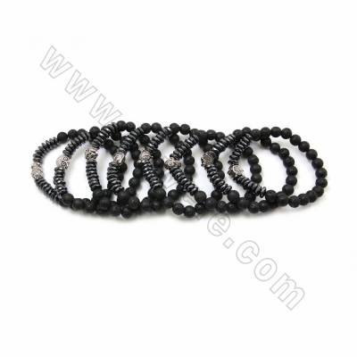 Natural Black Lava & Faceted Hematite Beaded Stretch Bracelets, with Alloy Charms, Round & Abacus, 58~60mm, 20 pcs/pack