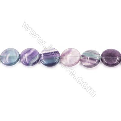 Natural Fluorite Beads Strand  Flat Round  Diameter 20mm  hole 1mm  about 20 beads/strand 15~16''