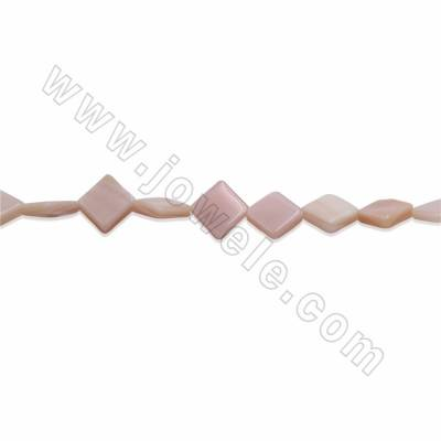 Natural Mother-of-pearl Shell Beads Strands, Rhombus, Size 8mm, Hole 0.8mm, 15~16''/ strand