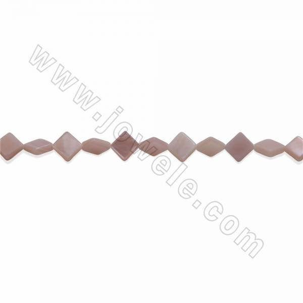Natural Mother-of-pearl Shell Beads Strands, Rhombus, Size 6mm, Hole about 0.8mm, 15~16''/ strand