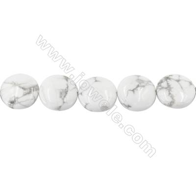 White Howlite Beads Strand  Flat Round Diameter 20mm  hole 1mm  about 20 beads/strand 15~16''